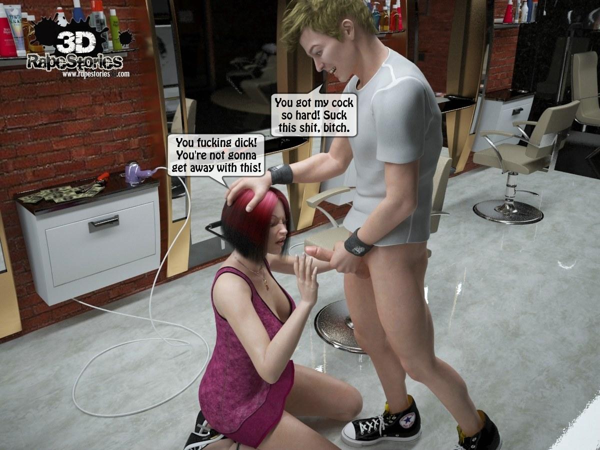 Two boys rape a woman at haircut- 3DStories