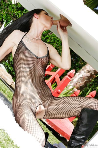 MILF India Summer milks a cock in crotchless bodystocking and boots - part 2