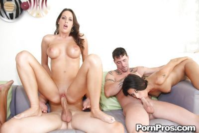 Three amazing babes with big tits have groupsex ending with bukkake - part 2