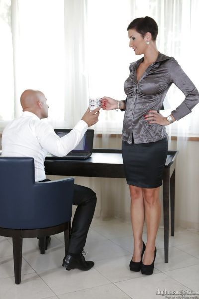 Busty milf Gabrielle Gucci has sex with her boss in the office