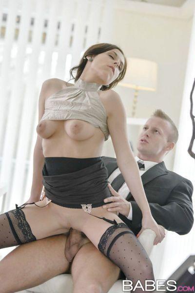 Stocking attired chick Antonia Sainz hiking skirt to fuck on desk at work - part 2