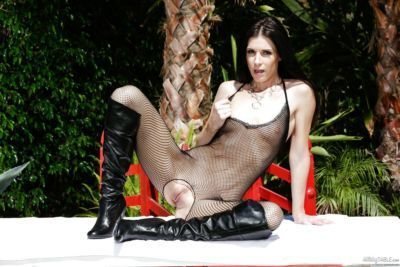 MILF India Summer milks a cock in crotchless bodystocking and boots