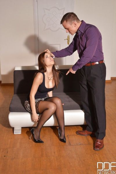 Submissive Euro slut Satin Bloom submits to master