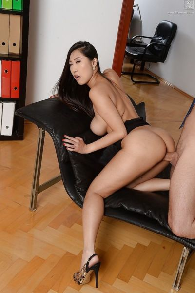 Beautiful Asian secretary Sharon Lee getting fucked by long cock at work - part 2