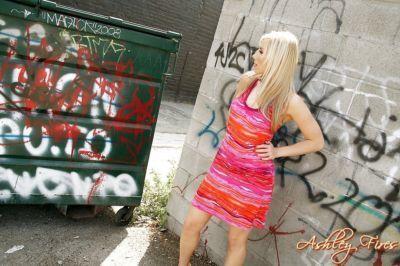 Amateur blonde solo girl Ashley Fires making pornstar debut outdoors