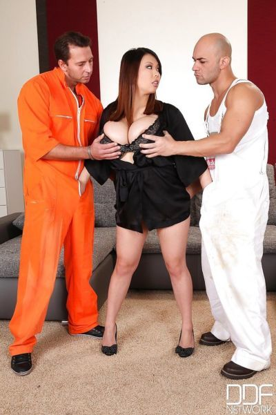 Busty Asian MILF Tigerr B roughly fucked by two stallions with huge dicks