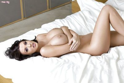 Buxom babe Alice Goodwin flaunting huge knockers in panties and high heels - part 2
