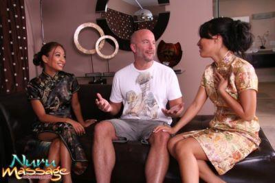 Asian milfs Asa Akira and Kina Kai presents amazing massage for a man