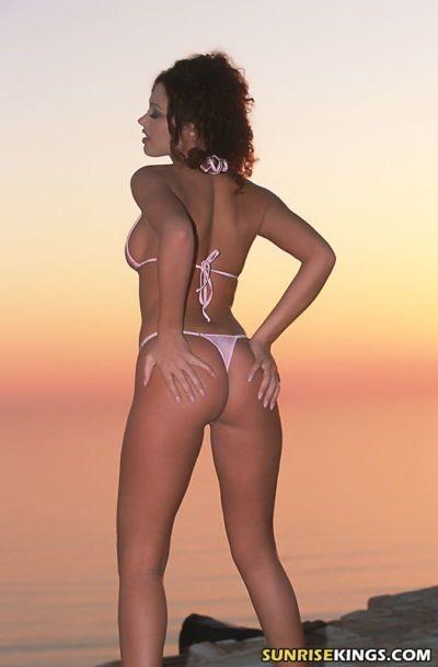 Elegant pornstar in bikini Terri Summers stripping in the dusk - part 2