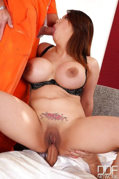 Busty Asian MILF Tigerr B roughly fucked by two stallions with huge dicks - part 2