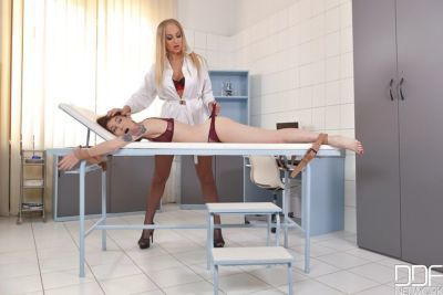 Blonde doctor gives her patient a nice and wet pussy check up - part 2
